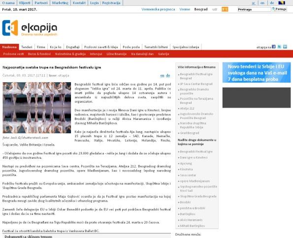 0903 - ekapija.com - Najpoznatije svetske trupe na Beogradskom festivalu igre