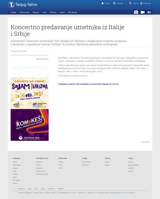 1402 - tanjug.rs - Koncertno predavanje umetnika iz Italije i Srbije
