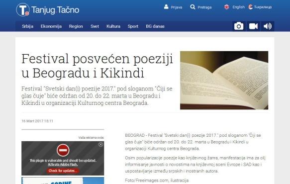 1603 - tanjug.rs - Festival posvecen poeziji u Beogradu i Kikindi
