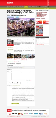 2402 - novosti.rs - PLESACI SE PRIPREMAJU ZA FESTIVAL IGRE- Beograd bogatiji od Rima i Milana
