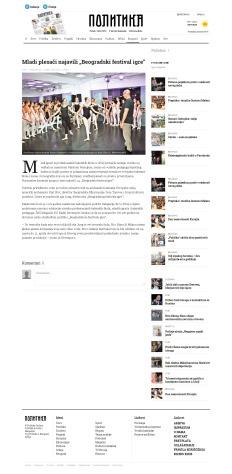 2402 - politika.rs - Mladi plesaci najavili Beogradski festival igre