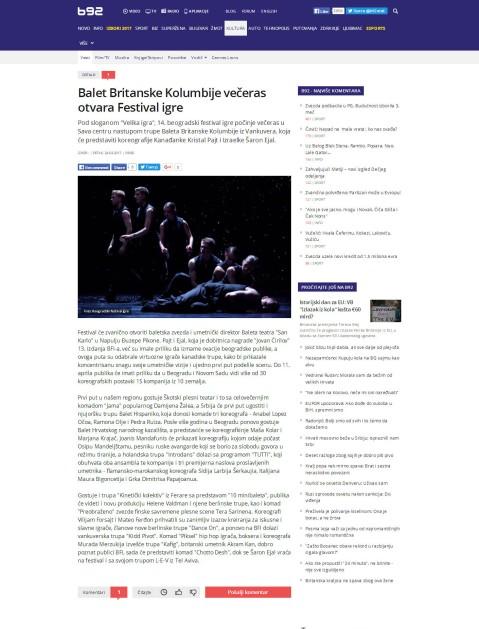 2403 - b92.net - Balet Britanske Kolumbije veceras otvara Festival igre