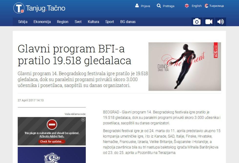2704 - tanjug.rs - Glavni program BFI-a pratilo 19.518 gledalaca