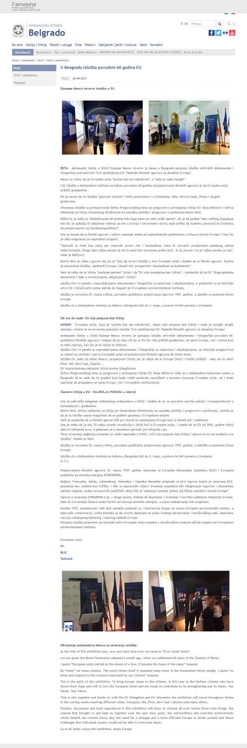 2604 - ambbelgrado.esteri.it - U Beogradu izlozba povodom 60 godina EU