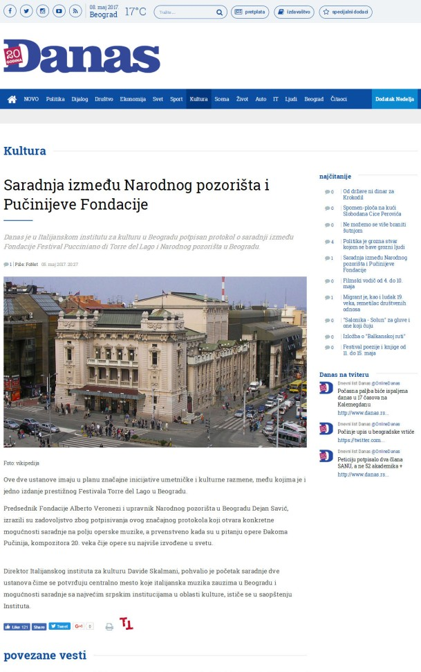 0505 - danas.rs - Saradnja izmedju Narodnog pozorista i Pucinijeve Fondacije