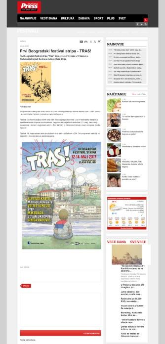 0505 - pressonline.rs - Prvi Beogradski festival stripa - TRAS