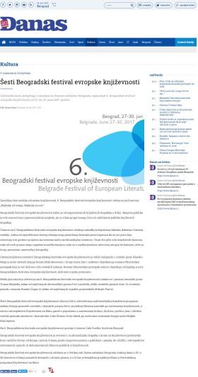 0506 - danas.rs - Sesti Beogradski festival evropske knjizevnosti
