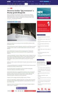 0706 - b92.net - Otvorena izlozba Sjaj renesanse u Muzeju grada Beograda