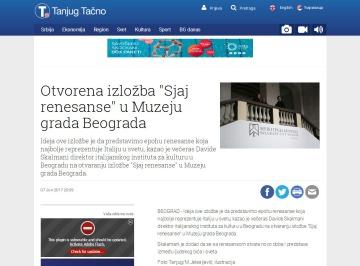 0706 - tanjug.rs - Otvorena izlozba Sjaj renesanse u Muzeju grada Beograda