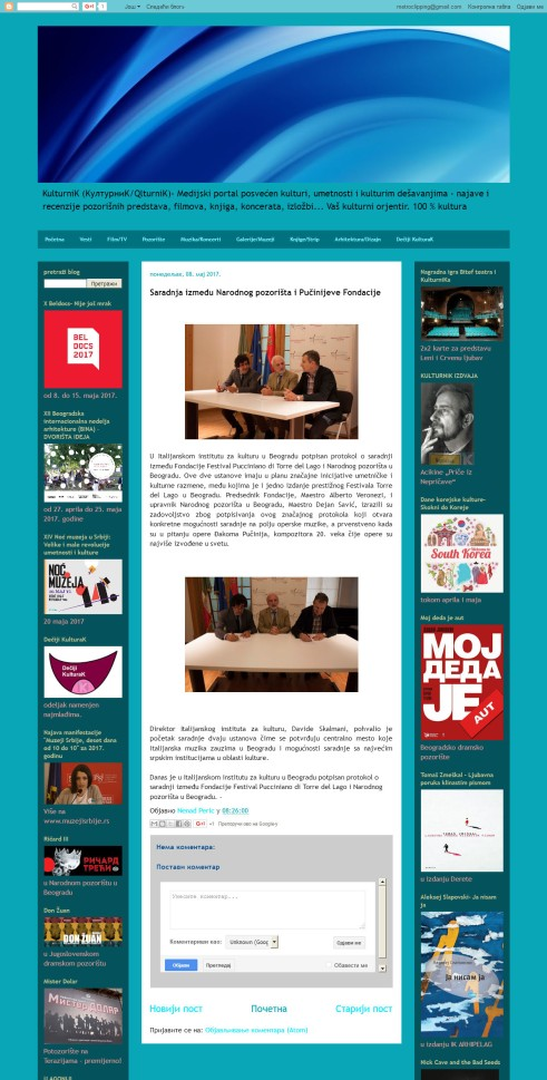0805 - qlturnik.blogspot.rs - Kulturnik- Saradnja izme-æu Narodnog pozorista i Pucinijeve Fondacije