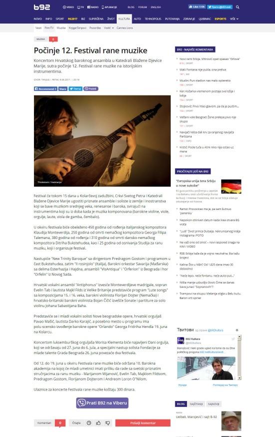 0906 - b92.net - Pocinje 12. Festival rane muzike