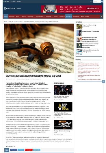 1006 - ekonomski.net - Koncertom Hrvatskog baroknog ansambla pocinje Festival rane muzike
