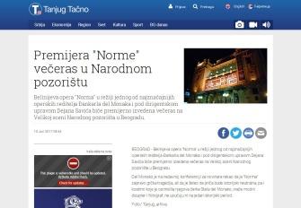 1006 - tanjug.rs - Premijera Norme veceras u Narodnom pozoristu