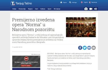 1106 - tanjug.rs - Premijerno izvedena opera Norma u Narodnom pozoristu