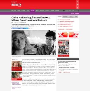 1706 - novosti.rs - Ciklus italijanskog filma u Kinoteci- Milena Dravic sa Anom Karinom