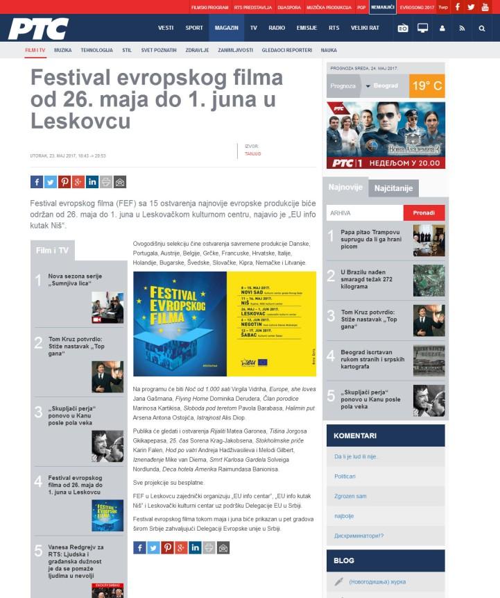 2305 - rts.rs - Festival evropskog filma od 26. maja do 1. juna u Leskovcu