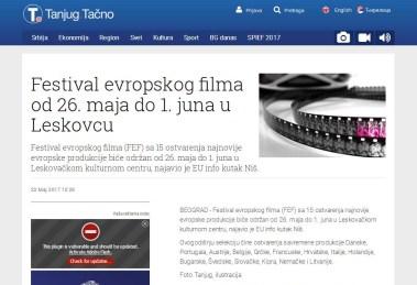 2305 - tanjug.rs - Festival evropskog filma od 26. maja do 1. juna u Leskovcu