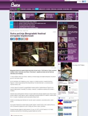 2606 - beta.rs - Sutra pocinje Beogradski festival evropske knjizevnosti