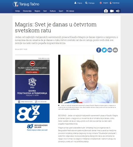 2806 - tanjug.rs - Magris- Svet je danas u cetvrtom svetskom ratu