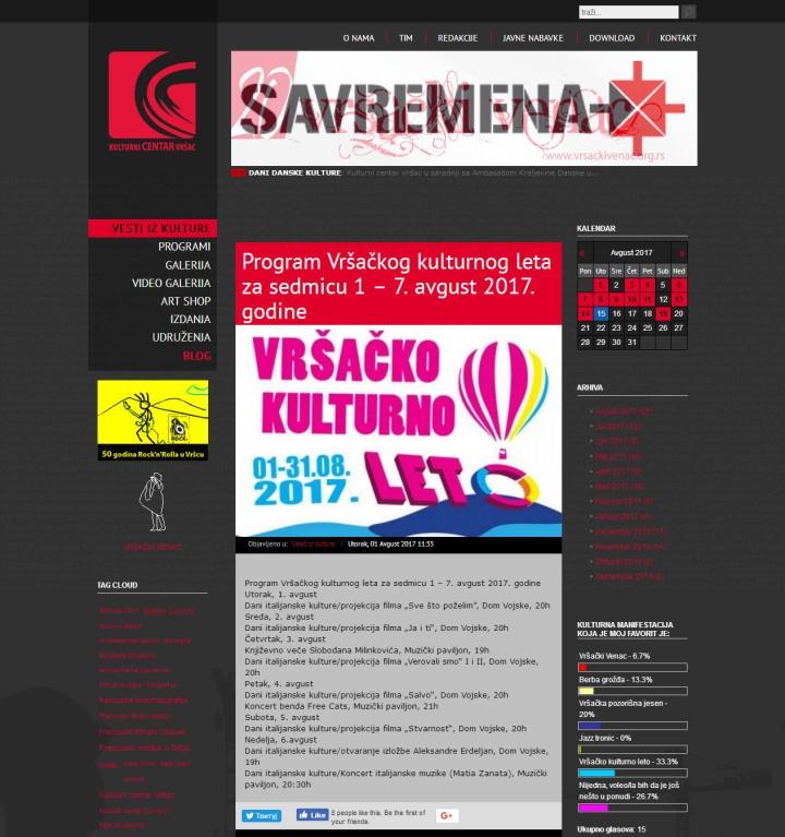 0108 - kulcentar.com - Program Vrsackog kulturnog leta za sedmicu 1 GÇô 7. avgust 2017. godine