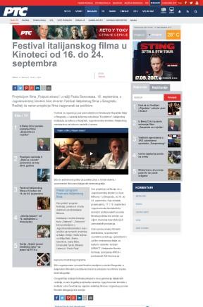 1309 - rts.rs - Festival italijanskog filma u Kinoteci od 16. do 24. septembra