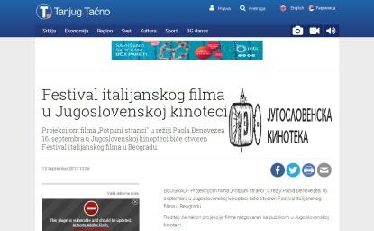 1309 - tanjug.rs - Festival italijanskog filma u Jugoslovenskoj kinoteci