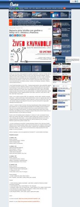 1409 - beta.rs - Najveca strip izlozba ove godine u Srbiji od 3. oktobra u Pancevu