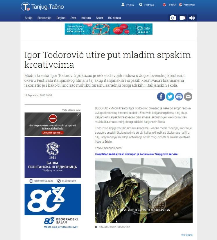 1909 - tanjug.rs - Igor Todorovic utire put mladim srpskim kreativcima