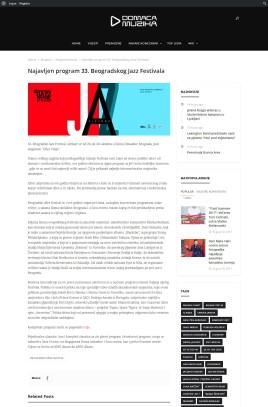 2809 - domacamuzika.net - Najavljen program 33. Beogradskog Jazz Festivala