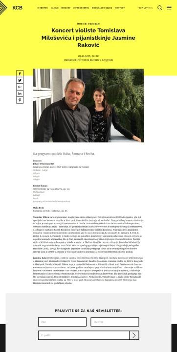 0310 - kcb.org.rs - Koncert violiste Tomislava Milosevica i pijanistkinje Jasmine Rakovic