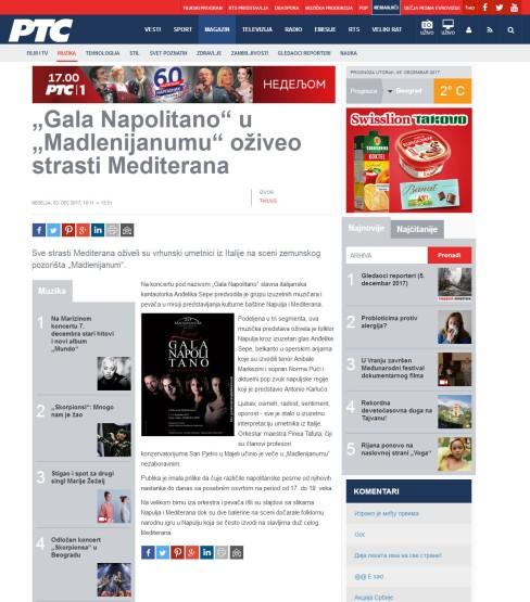 0312 - rts.rs - Gala Napolitano u Madlenijanumu oziveo strasti Mediterana
