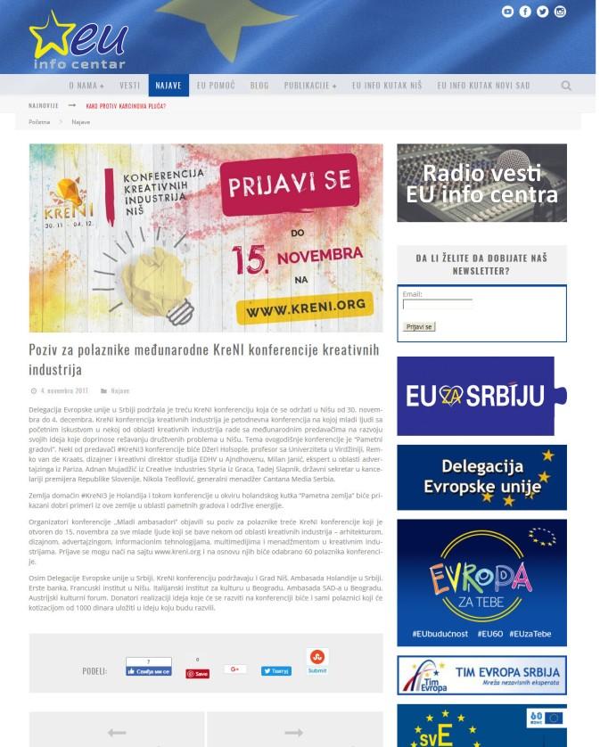 0411 - euinfo.rs - Poziv za polaznike medjunarodne KreNI konferencije kreativnih industrija