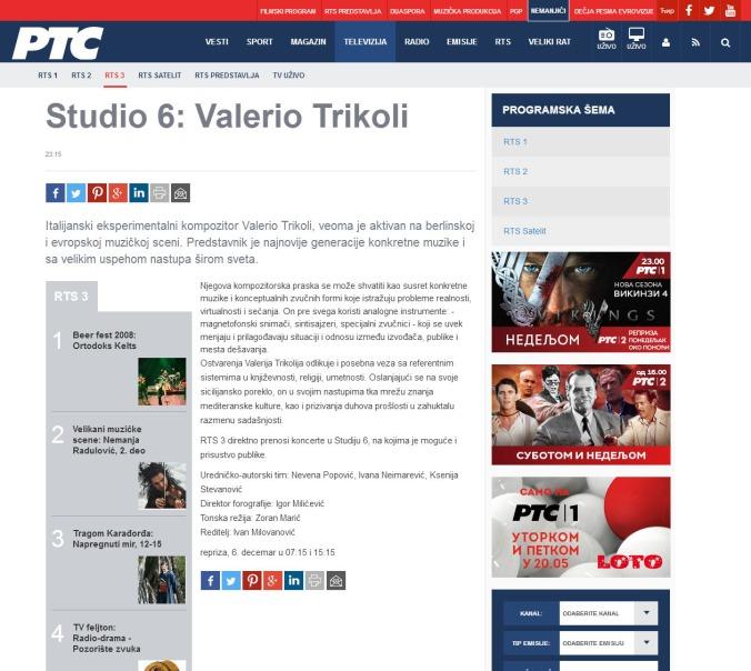 0512 - rts.rs - Studio 6- Valerio Trikoli