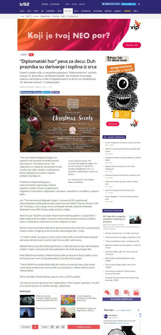 0612 - b92.net - Diplomatski hor peva za decu Duh praznika su darivanje i toplina iz srca