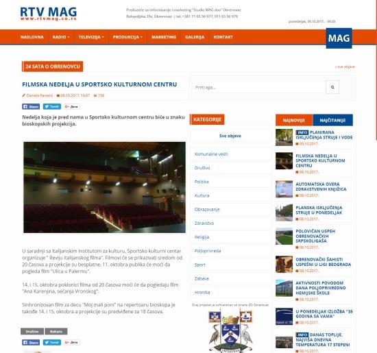 0810 - rtvmag.co.rs - FILMSKA NEDELJA U SPORTSKO KULTURNOM CENTRU