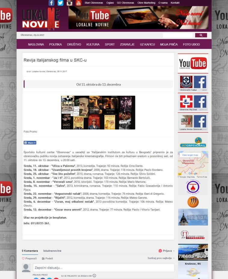 0911 - lokalnenovine.rs - Revija italijanskog filma u SKC-u