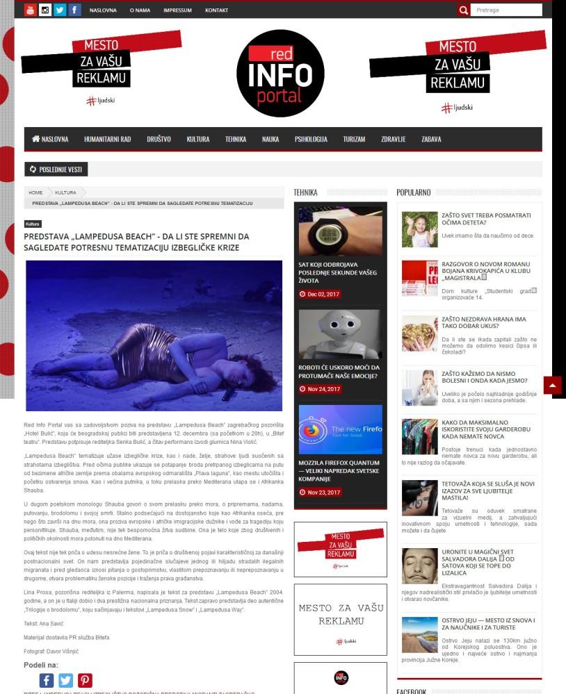 1012 - redinfoportal.com - PREDSTAVA LAMPEDUSA BEACH - DA LI STE SPREMNI DA SAGLEDATE POTRESNU TEMATIZACIJU IZBEGLICKE KRIZE