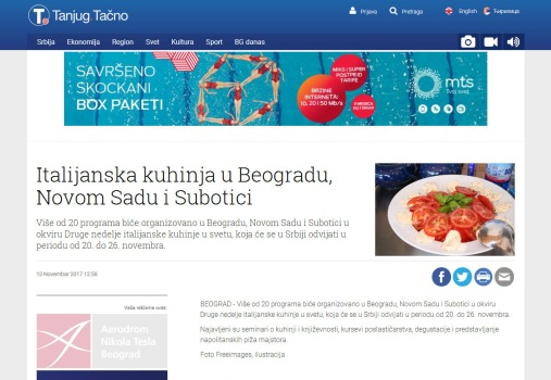 1311 - tanjug.rs - Italijanska kuhinja u Beogradu, Novom Sadu i Subotici