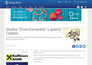 1411 - tanjug.rs - Izlozba Ziveo Kavandoli u galeriji Ciglane