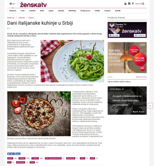 1411 - zenska.tv - Dani italijanske kuhinje u Srbiji