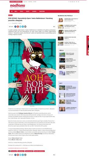 2011 - nadlanu.com - DON DJOVANI- Koprodukcija Opere i teatra Madlenianum i Narodnog pozorista u Beogradu
