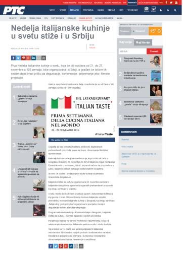 2011 - rts.rs - Nedelja italijanske kuhinje u svetu stize i u Srbiju