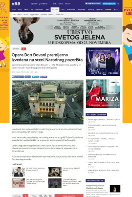 2311 - b92.net - Opera Don Djovani premijerno izvedena na sceni Narodnog pozorista