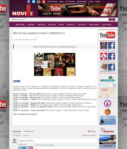 2410 - lokalnenovine.rs - REVIJA ITALIJANSKOG FILMA U OBRENOVCU