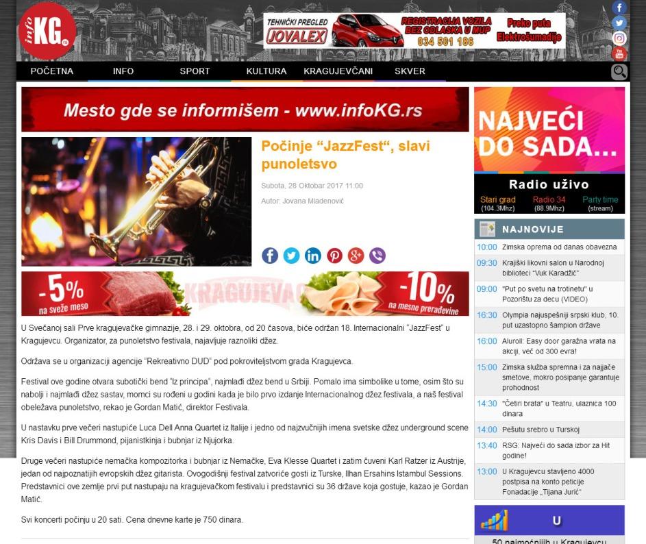 2810 - infokg.rs - Pocinje JazzFest, slavi punoletsvo