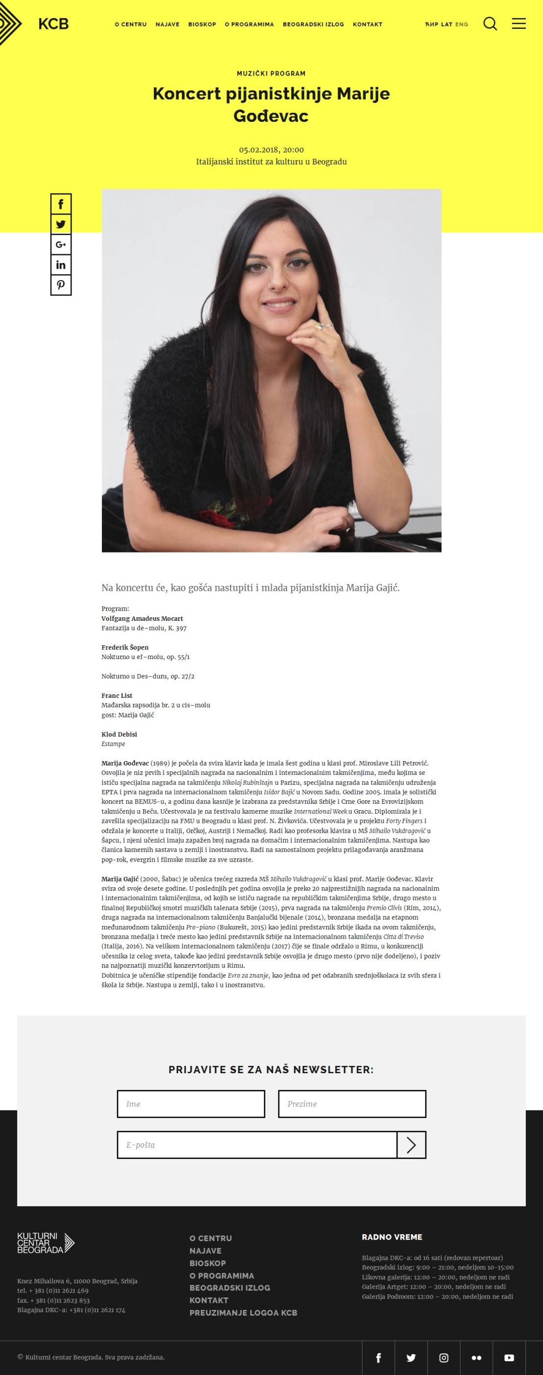0502 - kcb.org.rs - Koncert pijanistkinje Marije Godjevac