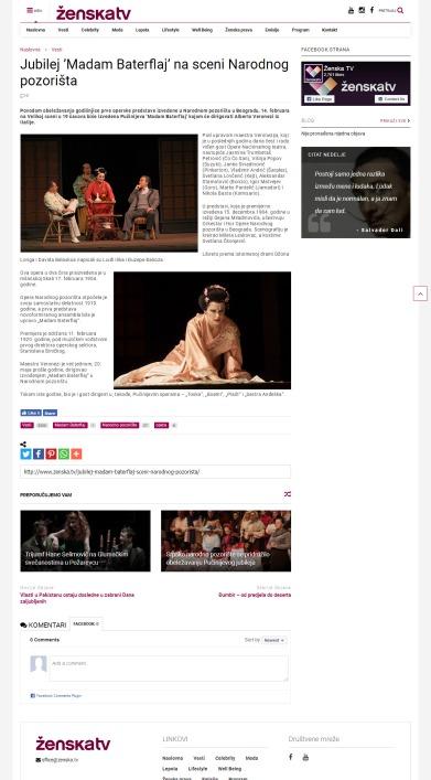 1002 - zenska.tv - Jubilej Madam Baterflaj na sceni Narodnog pozorista