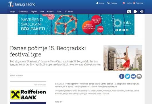 1503 - tanjug.rs - Danas pocinje 15. Beogradski festival igre