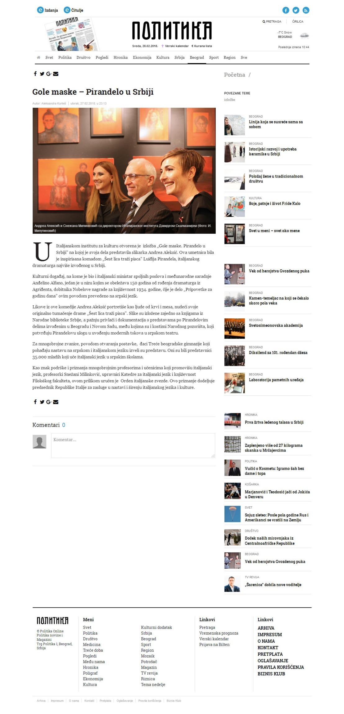 2702 - politika.rs - Gole maske Pirandelo u Srbiji