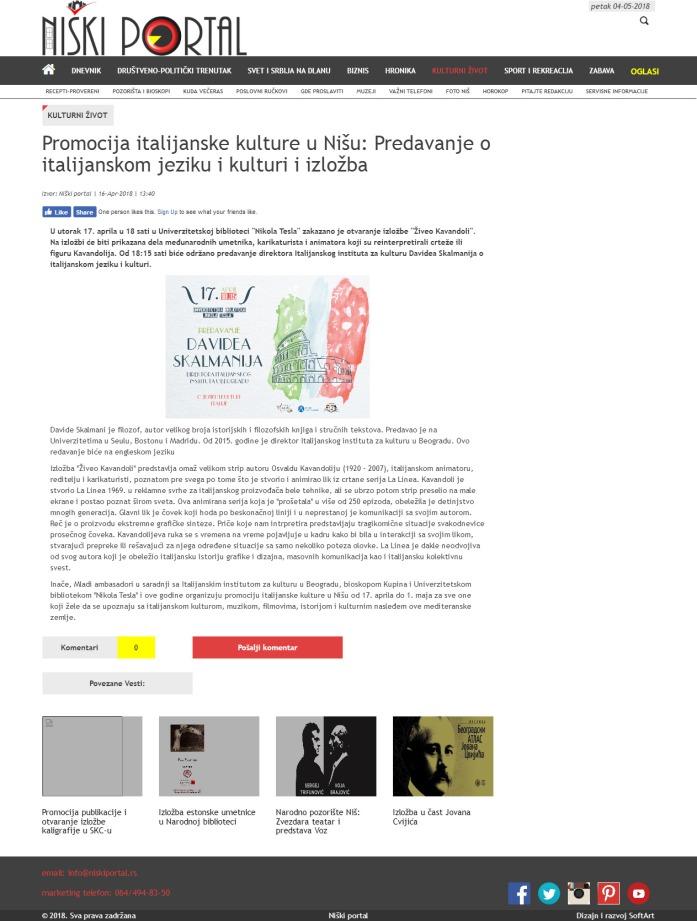 1604 - niskiportal.rs - Promocija italijanske kulture u Nisu- Predavanje o italijanskom jeziku i kulturi i izlozba